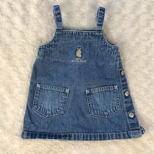 Ralph Lauren Teddy Bear Logo Denim Jumper Dress